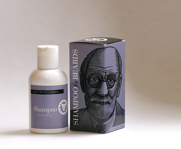 Beardsley Wild Berry flavor beard shampoo, featuring bearded notable Sigmund Freud, 4 ounce bottle
